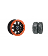 "HEXLR 15"" FLAT BLACK RIM & MOTO HAMMER TIRE KIT"