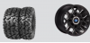 "THRASHR® 14"" FLAT BLACK RIM & MOTO ATTACK TIRE KIT"