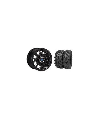 """THRASHR® 14"""" FLAT BLACK RIM & MOTO MUD TIRE KIT"""